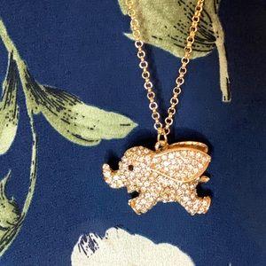 Cute elephant 🐘 rhinestone necklace chunky gold